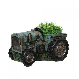 12.25 in. Distressed Teal & Black Tractor Outdoor Garden Patio Planter