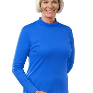130600204 Womens Long Sleeve Mock Turtleneck Shirt, Cobalt - Large