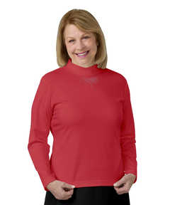 133200202 Elegant Mock Turtleneck Regular Top for Women - Red, Medium