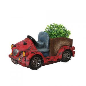 14.5 in. Distressed Red Vintage Car LED Lighted Solar Powered Outdoor Garden Patio Planter