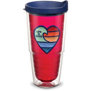 193355014515 Life is Good Rainbow Heart with Ruby Emblem 24 oz Tumbler with Lid