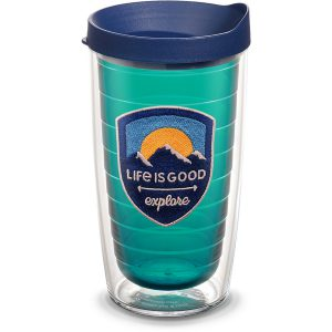 193355014539 Life is Good Explore with Emerald Emblem 16 oz Tumbler with Lid