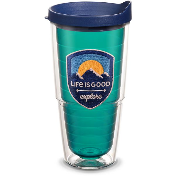 193355014546 Life is Good Explore with Emerald Emblem 24 oz Tumbler with Lid