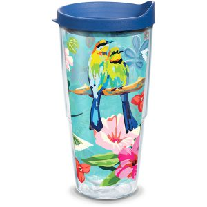 193355022305 Bright Bird Pattern 24 oz Tumbler with Lid