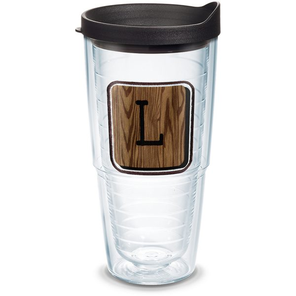 193355025467 Initial - L Wood Tile with Emblem 24 oz Tumbler with Lid