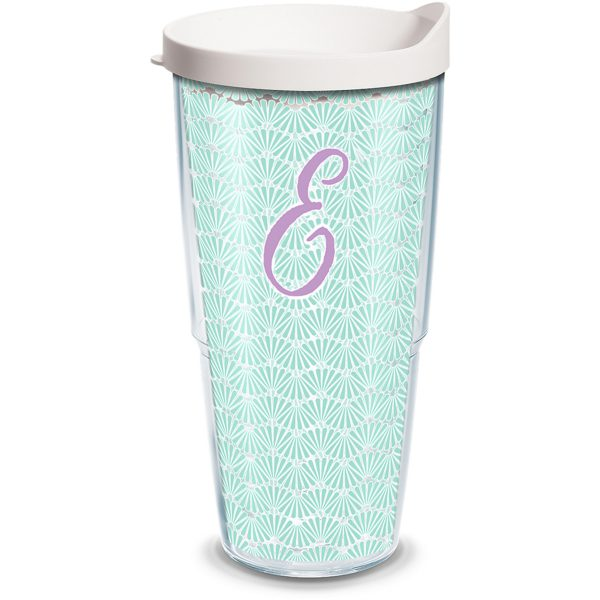 193355025580 Initial - E Teal Scallop 24 oz Tumbler with Lid