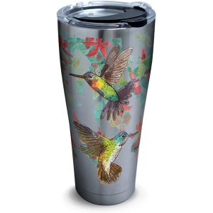193355027591 Colorful Hummingbirds 30 oz Stainless Steel Tumbler with Lid