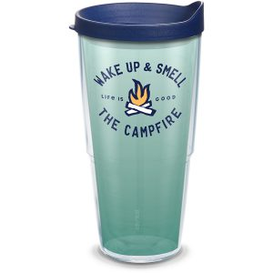 193355037903 Life is Good Wake Up Campfire 24 oz Tumbler with Lid