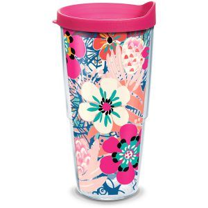 193355038849 Bright Wild Blooms 24 oz Tumbler with Lid