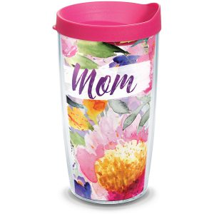 193355041580 Mom Large Blooms 16 oz Tumbler with Lid