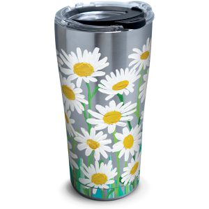 193355048411 Painted White Daises 20 oz Stainless Steel Tumbler with Lid