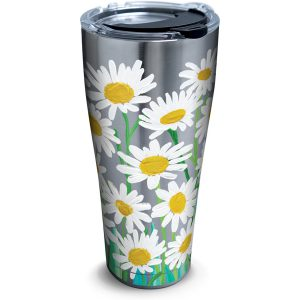 193355048428 Painted White Daises 30 oz Stainless Steel Tumbler with Lid