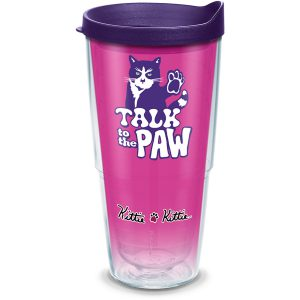 193355049470 Kittie Kittie Kittie Talk to the Paw 24 oz Tumbler with Lid
