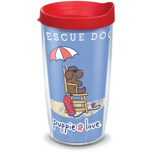 193355057734 Puppie Love Rescue Dog 16 oz Tumbler with Lid