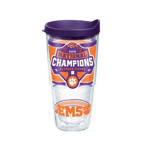 193355061717 NCAA Clemson Tigers 2018 National Champions 24 oz Tumbler with Lid