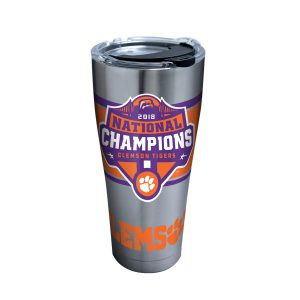 193355061724 NCAA Clemson Tigers 2018 National Champions 30 oz Stainless Steel Tumbler with Clear & Black Lid