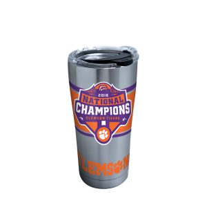 193355061755 NCAA Clemson Tigers 2018 National Champions 20 oz Stainless Steel Tumbler with Clear & Black Lid