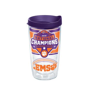 193355061786 NCAA Clemson Tigers 2018 National Champions 16 oz Tumbler with lid