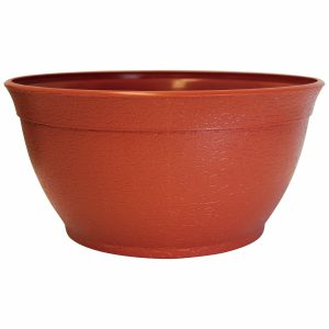 2391-1 14 in. Porch Planter Textured Flower Pot and Herb Garden Terracotta