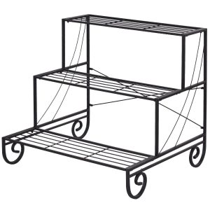 3 Tier Outdoor Metal Garden Planter Holder Shelf