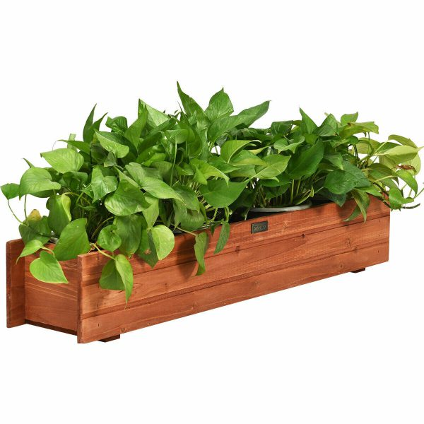 3' Wooden Decorative Planter Box for Garden Yard and Window
