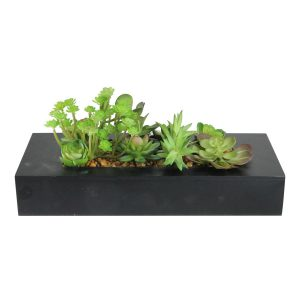32607008 7 in. Decorative Artificial Succulent Plant Arrangement in a Black Garden Box