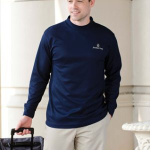 401 Long Sleeve Performance Mock Shirt Turtleneck, Navy, Large