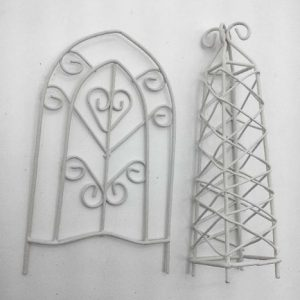 72201-05-WT Fairy Garden - 2 Piece Plant Tower & Trellis Ser, Off White