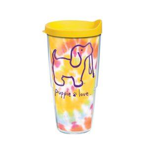 888633851189 Puppie Love Tie Dye Puppy 24 oz Tumbler with Lid