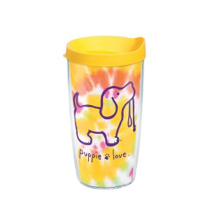 888633851196 Puppie Love Tie Dye Puppy 16 oz Tumbler with Lid