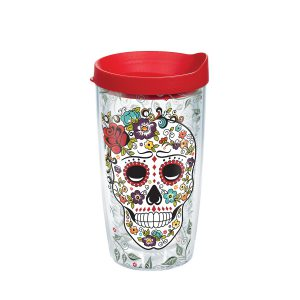 888633961406 Fiesta Skull Pattern 16 oz Tumbler with Lid