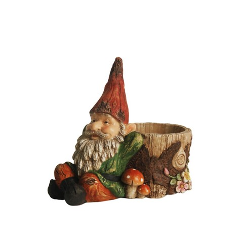 9.5 in. Weathered Green & Red Lounging Gnome Outdoor Garden Statue & Tree Stump Flower Planter