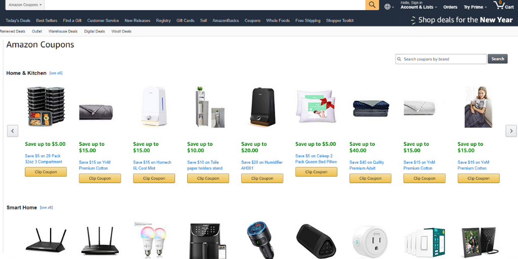 Find Coupon deals on Amazon