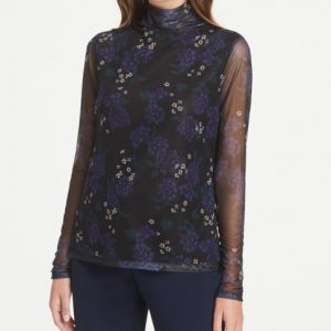 Ann Taylor Floral Mesh Turtleneck Top