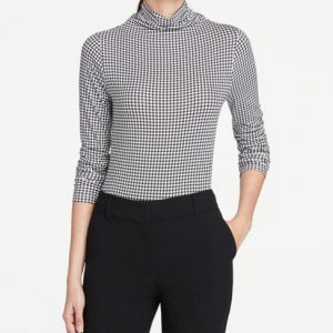Ann Taylor Petite Houndstooth Turtleneck Top