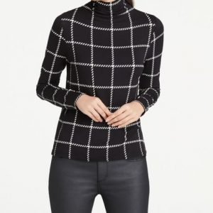 Ann Taylor Petite Windowpane Turtleneck Top