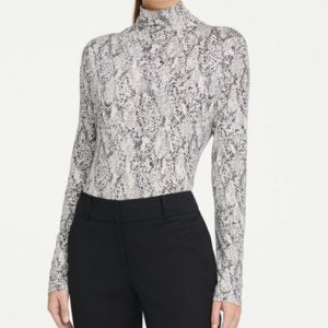 Ann Taylor Snake Print Turtleneck Top