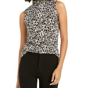 Bar Iii Animal-Print Textured Turtleneck Top, Created For Macy's