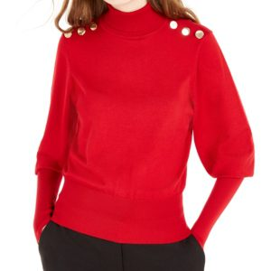 Bcx Juniors' Buttoned Turtleneck Sweater