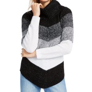 Bcx Juniors' Chevron-Stripe Turtleneck Sweater