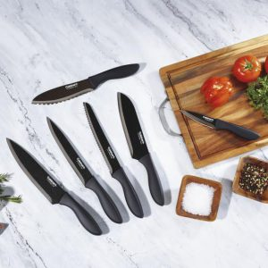 C77-12PMB Soft Grip Black Metallic Coated Knife Set with Blade Guards - 12 Piece