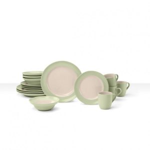 CDST-16PG Two-Toned Stoneware Dinnerware Set - Light Green, 16 Piece