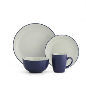 CDST-16PNB Stoneware Dinnerware Set - Blue, 16 Piece
