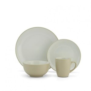 CDST-16PTN Stoneware Dinnerware Set - Light Yellow, 16 Piece