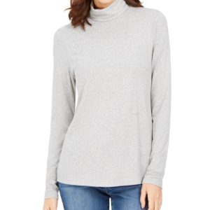 Charter Club Heathered Ribbed Turtleneck Top, Created for Macy's