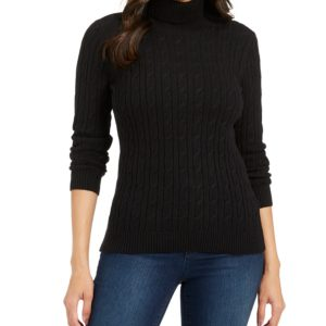 Charter Club Petite Cable-Knit Turtleneck Sweater, Created For Macy's