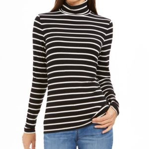 Charter Club Petite Striped Turtleneck Top, Created For Macy's