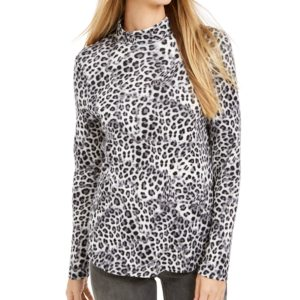 Charter Club Printed Cotton Turtleneck Top, Created For Macy's