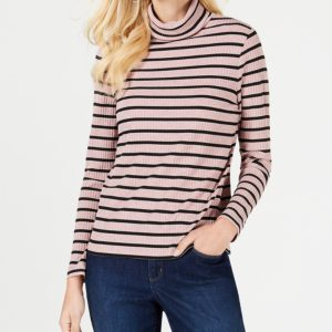 Charter Club Ribbed Striped Turtleneck, Created for Macy's