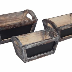 Cheung's FP-3684-3 Set of 3 Rectangular Garden Ledge Planter with Handle and Chalkboard